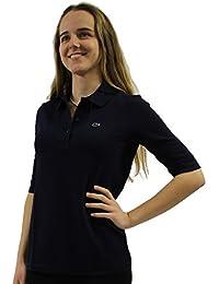 Lacoste PF0088 Klassisches Damen Polo, Polohemd, Polosshirt mit 3/4 Arm, Kurzarm. Regular Fit, für Freizeit und Sport, 100% Baumwolle