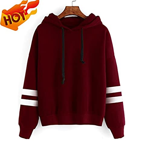 Sweatshirts and hoodies for teenage girls Fleece Appliques Pullover Tops Blouse women lady Slip on shirts (Wine 0, M)