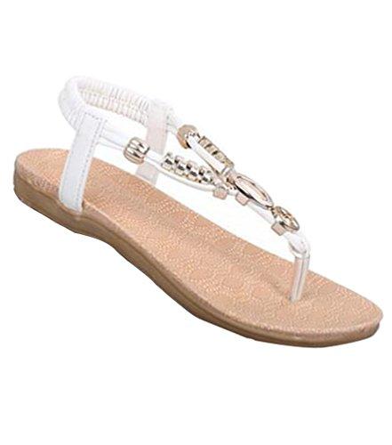 YOUJIA Femmes Élégant Métal Sequins T-Courroie Clip Toe Sandales Plates Chaussures #2 Blanc
