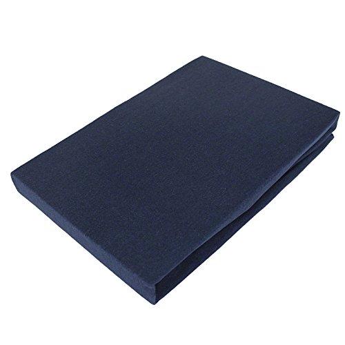 Bettwäscheträume Jersey Spannbettlaken I 90×200 140×200 180×200 I 100% Feinste Baumwolle I Navy Blau mit Prime Vorteil
