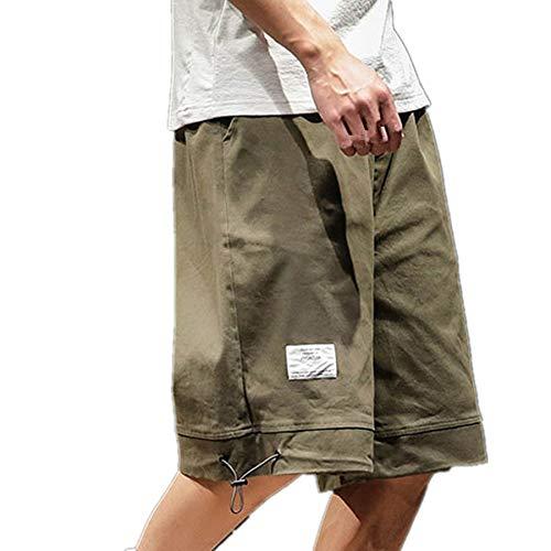 Cargo Shorts Herren Chino Kurze Hose Sommer Bermuda Sport Jogging Training Stretch Shorts Fitness Vintage Regular Qmber,Gerade einfarbige Hosen/Grün,2XL -