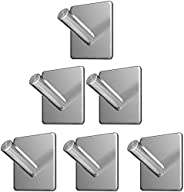 Wall Hooks Heavy Duty Adhesive Hooks Stainless Steel Hangers Nail Free Utility Hooks, Stick On Hook For Hangin