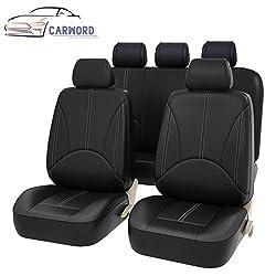 Autositzbezüge PU Leder Auto Universal für Geschenk Automotive Front und Rücksitz Protektoren Passt die meisten Auto LKW Van SUV, schwarz