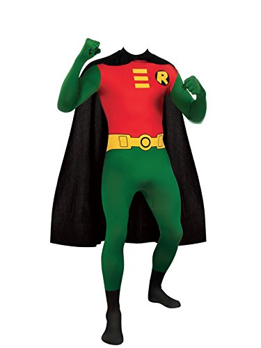 Frauen Robin Kostüme (Robin SuperSuit Kostüm, Umhang Und Maske - Erwachsene Unisex: Männer Und Frauen Zweite Haut | Zentai Batman Strampelanzug Kleidung Outfit Halloween Lycra Billig)