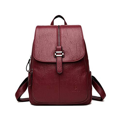 SDINAZ Damen Schlank Rucksäcke Daypacks Weiches PU-Leder Rucksackhandtaschen zum Reise Schule Gehen Rotwein