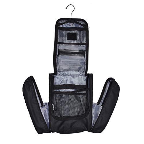 Extra großer Kulturbeutel für von Nomalite | Hängende, Wasserdichte XL-Kosmetiktasche/Kulturtasche. Mit starkem Metallhaken und Abnehmbarer, transparenter Toiletry Bag für Reisen