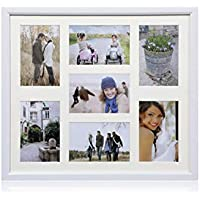 "ARPAN MDF Multi Aperture Photo Collage Frame for 7 Photos 3 x 6"" x 4"" and 4 x 4"" X 6"" Photos (White)"