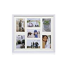 """ARPAN MDF Multi Aperture Photo Collage Frame for 7 Photos 3 x 6"""" x 4"""" and 4 x 4"""" X 6"""" Photos (White)"""