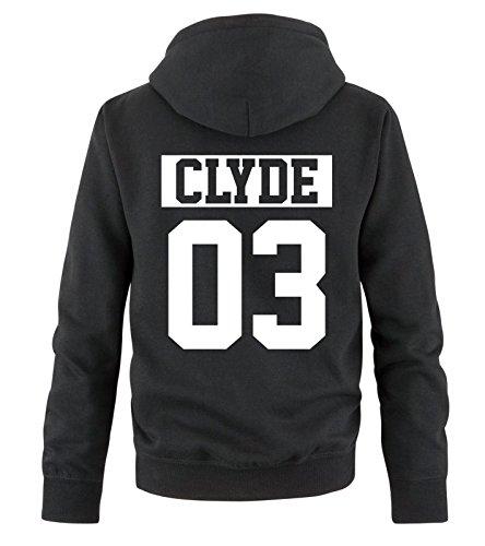 Comedy Shirts - CLYDE 03 - NEGATIV - Herren Hoodie - Schwarz / Weiss Gr. L