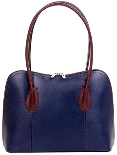 Primo Sacchi Italienisch Glattleder Navy & Burgund Hand made klassischen Stil lange Handtasche Tote Grab Tasche oder Schultertasche. Beinhaltet einen Markenschutz-Aufbewahrungsbeutel (Italienisch Burgund)