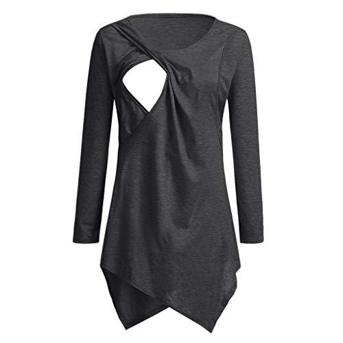 Amphia - Schwangere Frauen Langarm-ShirtSchwangerschafts-Kreiskragen-T-Shirt der Frauen Mutterschafts-Krankenpflege-Baby übersteigt Kleidung - (Grau,XL)