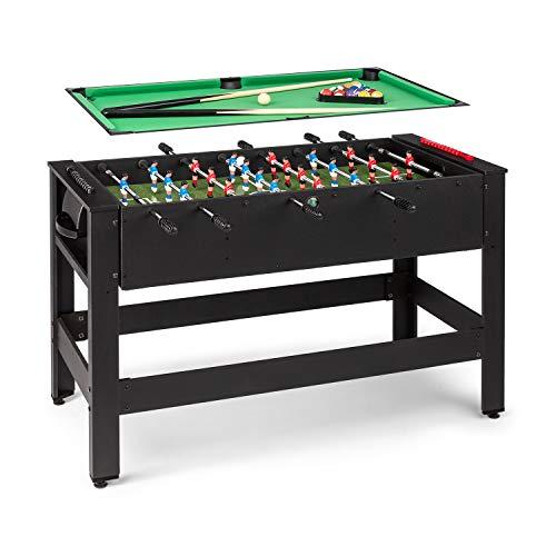 Klarfit Spin 2-in-1 Spieltisch Billardtisch Kicker, Billardtisch: 105 x 58 cm / grüne Bespannung, Kicker-Tisch, inklusive Spielzubehör, Spin-Funktion: drehbarer Tischl, schwarz