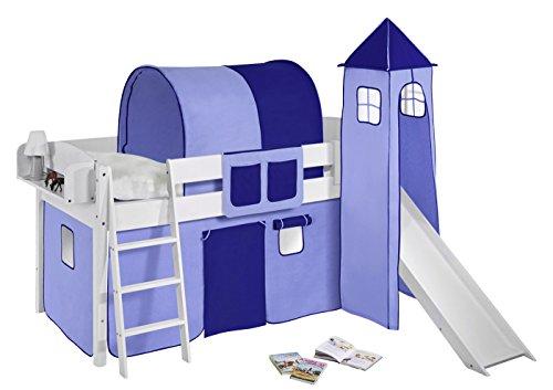 Lilokids Spielbett IDA 4105 Blau-Teilbares Systemhochbett weiß-mit Turm, Rutsche und Vorhang Kinderbett Holz 208 x 220 x 185 cm