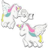 Ohrringe K304 Glitzer Einhorn Pferde für Kinder Mädchen Damen Ohrstecker 925er echt Silber 925 Sterlingsilber
