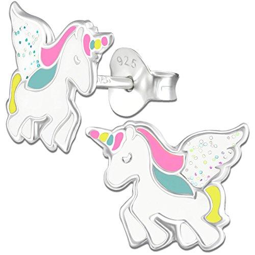 Ohrringe K304 Glitzer Einhorn Pferde für Kinder Mädchen Damen Ohrstecker 925er echt Silber 925 Sterlingsilber (Pferd-ohr-stecker)