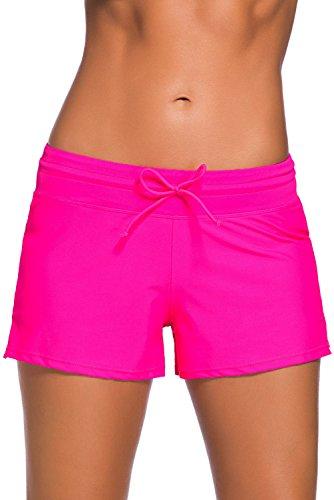 Dokotoo Badeshorts Damen Bikinihose Boardshorts Einfarbig UV Hotpants S-XXXL
