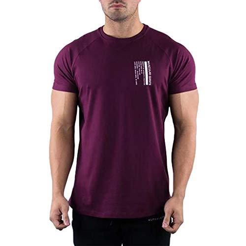 LUCKYCAT Herren T-Shirt Kurzarm Shirt mit Rundhalsausschnitt Oversize Herren Crew Neck Body-Fit Brief Gedruckt Shirt Sommer T-Shirt Kurzarm Shirt Herren T-Shirt Basic Einfarbig Slim Fit -