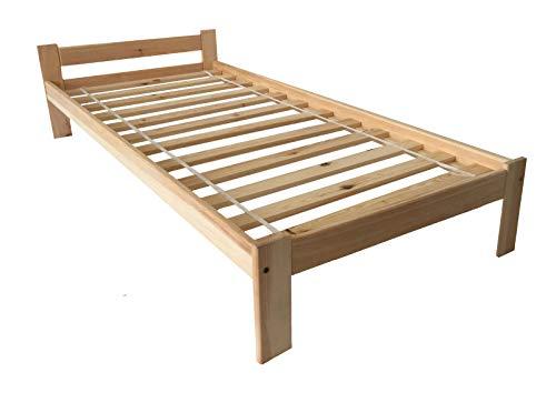 Holzbett Einzelbett 90x200 Kiefernbett Natur Massive Füße Einzelbett Bettgestell mit Lattenrost/Rollrost