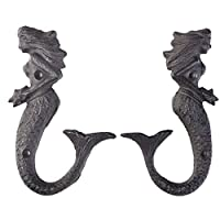 Vosarea 2 Pcs Cast Iron Hooks Mermaid Wall Mounted Hooks for Coat Hats Home Decor