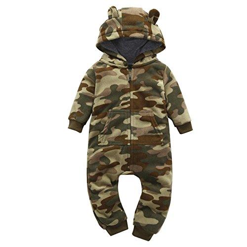 HCFKJ Bebé Infantil NiñA MáS Gruesa Camuflaje Sudadera Con Capucha Mameluco Mono Traje Ropa (Camuflaje, 12M)