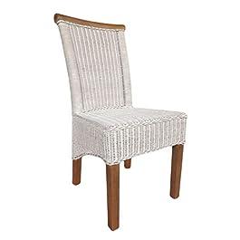 casamia Chaise en rotin Perth d'assise en Lin Blanc sans Coussin, Taille Unique