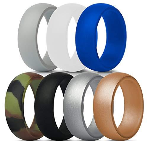 EXQUILEG Silikon Ehering für Männer, Silikonring Silikon Hochzeit Ring Silikon Gummibänder Ring Langlebig Bequem Antibakteriell Ringe 7 Farben für Sport und Outdoor (11)