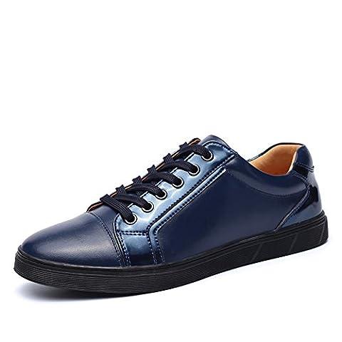 SONGYUNYAN Loisirs extérieurs en cuir anglais fashion sneaker chaussure bateau hommes , blue , 42