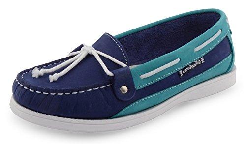 Ubershoes , Chaussures bateau pour femme beige/blue/navy blue Indigo/Ferozi