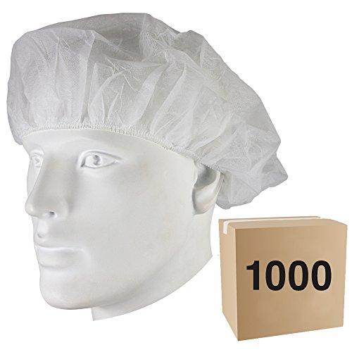 1000x Einweg Mütze–Typ: RUND–Material: Polypropylen–CE–Farbe: weiß–für Hotellerie, Netzteil, Labor, Industrie, Fabrik, Arbeit, Lager (Leichtes Langarm-ausbildung)
