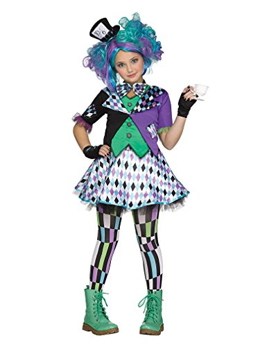 Mad Hatter Wunderland Kinder & Teenager Kostüm für Halloween & Fasching (Kostüme Für Kinder Hatter Mad Halloween)