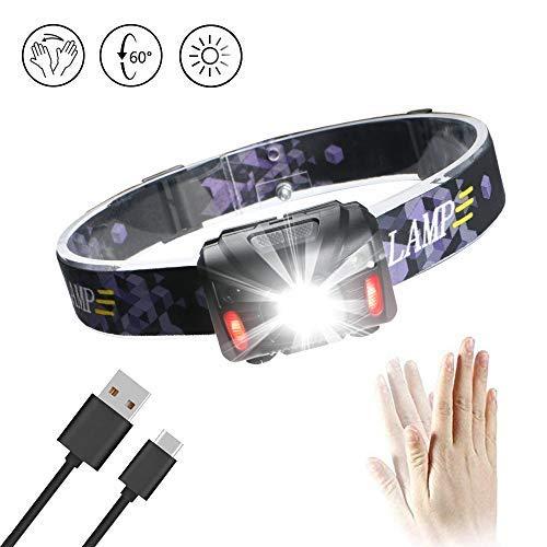 Enjoydeal USB-wiederaufladbare LED-Stirnlampe – PIR-Sensor Stirnlampe, wasserdicht, verstellbarer Fokus, LED-Scheinwerfer, 5 Modi für Laufen, Wandern, Camping, Lesen, Wandern, Jagd, Outdoor, SOS-Licht