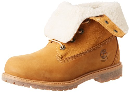 Timberland Authentics FTW_Authentics Teddy Fleece WP Fold Down 8329R, Damen Stiefel, Gelb (Wheat), EU 39.5 (US 8.5)