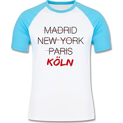 Shirtracer Städte - Weltstadt Köln - Herren Baseball Shirt Weiß/Türkis