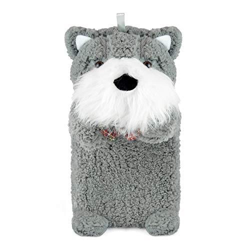 Wärmflasche aus Plüsch, Motiv Scoty Dog, super weicher Bezug, hochwertiger Naturkautschuk, 1 l Wärmflasche, hilft Wärme und Komfort