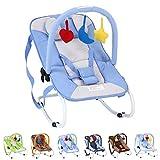 Infantastic Baby Balancín con sistema de seguridad de 3puntos con estructura de metal de tubo de Estable con parte arco, 3juguetes, color azul