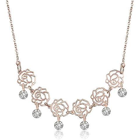 City Ouna® 18K oro rosa chapado rosa collar con cristales de Swarovski elemento cadena clavícula