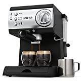Traditional Pump Espresso Coffee Machine,Homever 15 Bar 1050W Italian Traditional Espresso Coffee Maker with Milk Frother,1.5L Removable Water Tank,Washable Drip Tray for Latte,Cappuccino,etc.