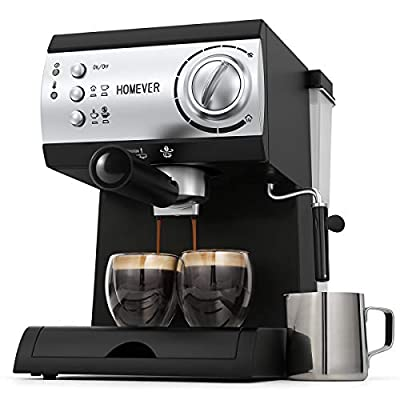 Traditional Pump Espresso Coffee Machine,Homever 15 Bar 1050W Italian Traditional Espresso Coffee Maker with Milk Frothing,1.5L Removable Water Tank,Washable Drip Tray for Latte,Cappuccino,etc. from Homever