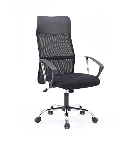 moderner Chefsessel Drehstuhl Bürostuhl Schreibtischstuhl Sessel Stuhl höhenverstellbar Wippfunktion schwarz (C161B)