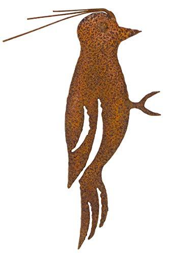 B2S BACK2SEASON Metall Specht mit Baumspieß rost-Finish edel Vogel Edelrost Rostfigur Tierfigur Rostige Gartendeko Rostdeko Baumdekoration braun stabil zeitlos wetterfest Garten Herbstdeko H=21 cm -