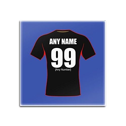 unigift Personalisiertes Geschenk-Dewsbury Rams Quadratischer Untersetzer Glas (Rugby League Design Thema, Farbe Optionen)-Alle Nachricht/Name auf Ihre Einzigartige - -