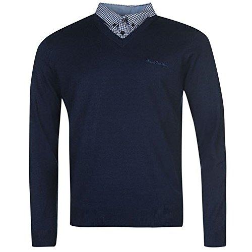 Pierre Cardin Herren 2 in 1 V-Neck Pullover mit Hemdeinsatz Dk. Blue