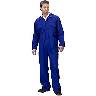 Tough Gear Boiler Suit Coveralls for Men and Women - Heavy Duty Work Overalls for Construction Site & Domestic Purpose - Unisex Protective Safety Workwear - Elasticated Waist - 4XL - Royal Blue