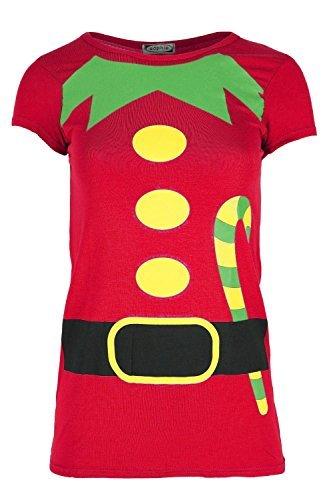 Damen Weihnachten T-shirt Damen Weihnachten Elfe Kostüm Candy Klebe Aufdruck Jersey Oberteil - Rot, (Kostüme M&m Candy)