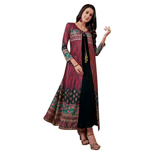 Gedruckt Kameez (Cotton Slub Digital gedruckt Salwar Kameez Jacke Stil mit gefärbten Slub Rayon Innere XXL Größe indischen muslimischen ethnischen Festliche Tragen 7183)