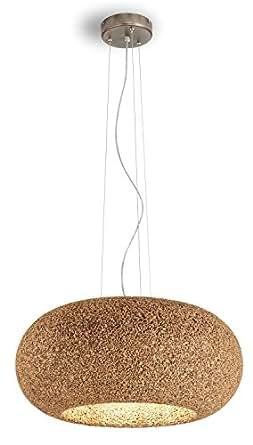 Greencorks, DISCO LAMP da soffitto; 60 X 156 H cm della Collezione LAMP. LAMPADA a SOSPENSIONE REGOLABILE in sughero e corpo lampada a led incluso. LAMPADA d'appendere per Interni. Variante in SUGHERO BIONDO.