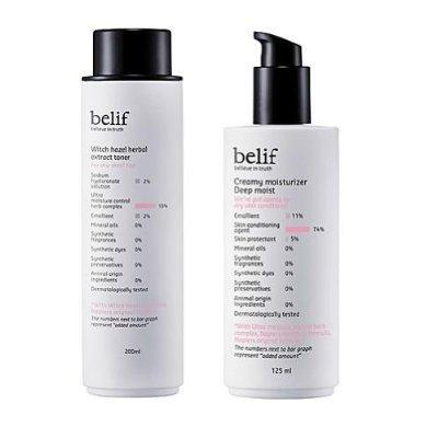 belif, Set for dry skin (Witch Hazel Herbal Extract Toner 200ml + Creamy Moisturizer Deep Moist 125ml) (moisturizing, nutrition