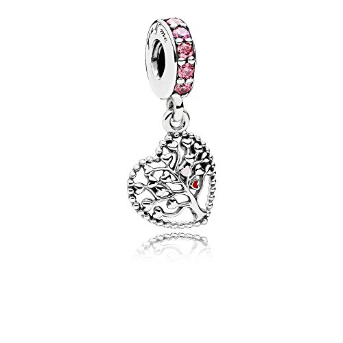 Pandora Moments Rosafarbener Stammbaum Charm-Anhänger Sterling Silber, Cubic Zirkonia, Emaille 796592CZSMX