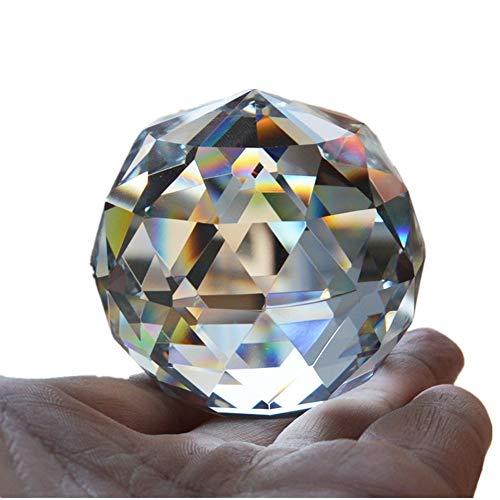 qianyue Quarz Glas Kristall facettierten natürlichen Ball Steine und Mineralien Feng Shui Kristalle Bälle Miniatur Figur Kristal Produkte (60mm)