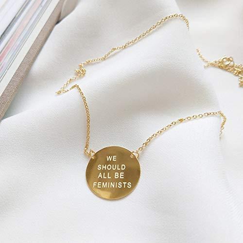 XKJT Colgante Redondo De Plata De Ley 925, Color Dorado, Todos Deberíamos Ser Feministas para La Joyería De Dijes De Las Mujeres